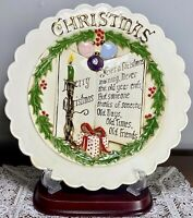 Vintage 1940's Christmas Hand Painted Porcelain Plate Artist Signed Alice 10.75""