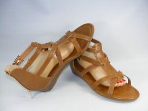 Catherines Alaina Women's 12 W Brown Gladiator Cognac Sandals Low Wedge Heels