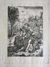 Antique Large engraving from Albrecht Durer : Samson Rending the Lion