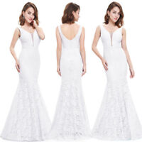 Ever-Pretty White Mermaid Wedding Dress Lace Long Fishtail Prom Dresses 08838