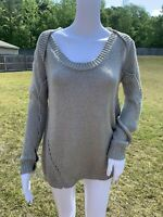Vivienne Westwood Sweater Gray Open Knit Ribbed Cold Shoulder Size Small Jumper