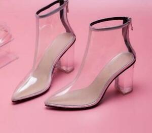 Transparent Rubber Women Short Boots Zipper Ankle Boots Clear Galoshes US4-10