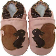 carozoo soft sole leather infant baby shoes squirrel pink 6-12m