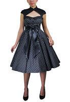 Plus Size Black Retro Rockabilly Swing Archaize Polka Dot Dress 1X 2X 3X 4X