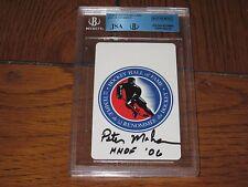 PETER MAHER AUTOGRAPHED HOCKEY HOF CARD-JSA/BGS SLAB-ENCAPSULATED-RARE HOF