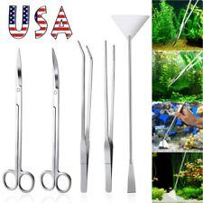 5 in 1 Aquarium Tools Kit Aquascaping Tank Aquatic Plant Stainless Steel Tool Us