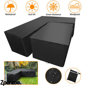 Outdoor Waterproof Rattan Corner Furniture Cover Garden Sofa Protector L Shaped