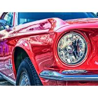 Vintage Red Car Headlight Large Wall Art Print