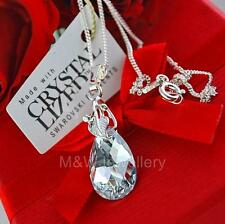 925 SILVER NECKLACE CRYSTALS FROM SWAROVSKI® 16MM PEAR/ALMOND CRYSTAL CAL
