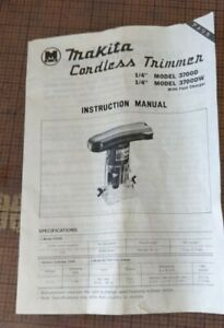 Makita 3700-D, 3700-DW Cordless Trimmer *** Instruction Manual Only ****  3700D