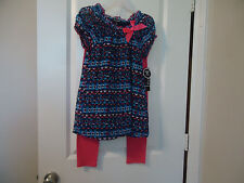 NWT George Sz M (7-8) Girl's 2-Piece Bubble Top & Leggigs Blues & Pink