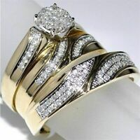 Diamond Trio His Her Bridal Set Wedding Engagement Band Ring 14K Yellow Gold FN
