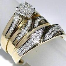 Diamond Trio His Her Bridal Set Wedding Engagement Band Ring 14K Yellow Gold FN