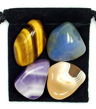 EYE and VISION REPAIR Tumbled Crystal Healing Set = 4 Stones + Pouch + Card