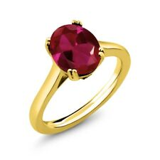 4.03 Ct Oval Red Created Ruby Black Diamond 18K Yellow Gold Plated Silver Ring
