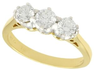 0.87ct Diamond and 18ct Yellow Gold Trilogy Ring - Vintage Circa 1970