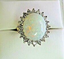 Vintage 18 Carat Gold Opal and Diamond Size J