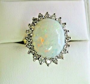 Vintage 18 Carat Gold Opal and Diamond Size J