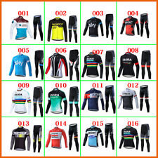 Mens Long Set Cycling Jersey Long Sleeve Long Pants Winter Fleece Shirt Thermal
