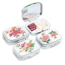 Square Metal Pill Box Medicine Organizer Container Case Storage-Travel-Port E7F3