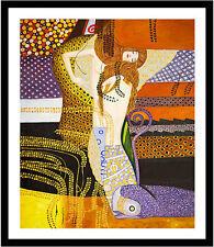 Water Serpents I by Gustav Klimt 75cm x 62.5cm Framed Black