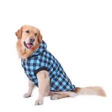 Large Pet Dog Plaid Padded Coat Thick Winter Fleece Jacket Sweater Clothes Blue 3xl