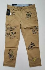 Polo Ralph Lauren Rugby Chino Stretch Twill Pants All Over Print Tan Mens 34x30