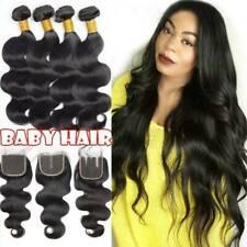 Malaysian Virgin Human Hair Extensions Weave 3 Bundles With Closure 20