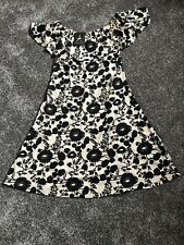 Ladies Cream & Black Flower Print Off The Shoulder Dress From Atmosphere Size 8