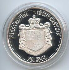 GS1137 - Liechtenstein 20 Ecu 1993 Silber Schloss Vaduz im Herzen Europas