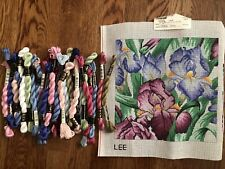 "Pink Blue Irises 10""x10"" Hand Painted Needlepoint Canvas with Flosses by Lee"