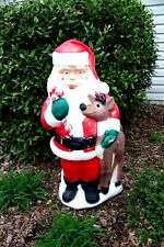"""39"""" Plastic Santa Claus Reindeer Outdoor Lighted Glow Blow Mold Decor TPI"""