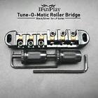 Electric Guitar Tune-O-Matic Bridge Roller Saddle w/ 2 Studs for LP Black Chrome
