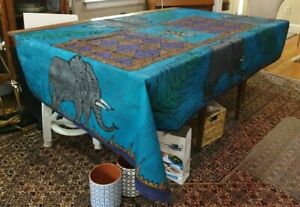 Molweni Afrika Nomfundiso African HandPainted Tapestry Tablecloth Elephant 91×56
