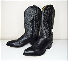 DAN POST genuine leather american cowboy boots US 9 S UK 8.5 black grey tall