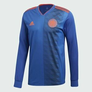 Authentic Adidas COLOMBIA Away Jersey Long Sleeve size MEDIUM Blue and Orange M