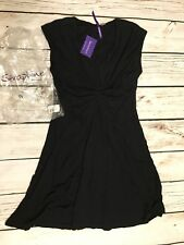 Seraphine Maternity Cecile Black Pleat Detail Jersey Midi Dress US 10 UK 14 $129