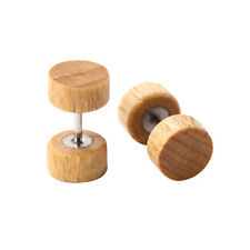 Vintage Wood Stainless Steel Fake Cheater Ear Plugs Barbell Stud Earring Gaurduj Black 8mm