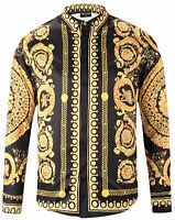 Pizoff Long Sleeve Baroque Men's Casual Dress Shirts Gold Flower Printing Tops