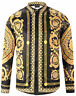 Pizoff Long Sleeve Baroque Men's Casual Dress Shirts Gold Flower Printing Tops