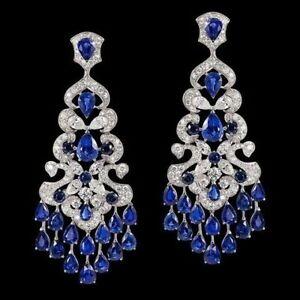 6Ct Pear Cut Blue Sapphire Syn Diamond Chandelier Earrings White Gold Fns Silver