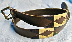 Men Southwestern Brown  Leather Belt Blue, Beige &Green Embroidery Bronze Buckle