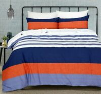 King size Quilt Doona Duvet Cover Set With Pillowcases White Blue Rust Cotton