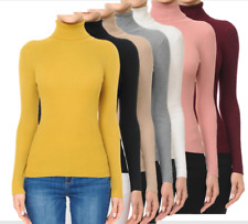 Women's Basic Stretch Knit Long Sleeve Soft Turtle Neck Top Pullover Sweater S-L