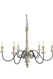 LNC French Country 6 Light Bronze Farmhouse Chandelier Rustic Distressed Wood