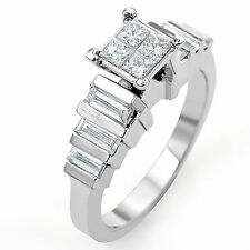 1 Ct Princess Baguette Anniversary Engagement Diamond F VS1 Ring 14K White Gold