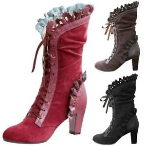 Womens Vintage Lolita Lace-up Boots Mid Calf High Block Heel Gothic Shoes Size