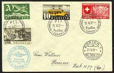 Switzerland 237, 241, 251 & C4a on 1st Flight cover, 1939