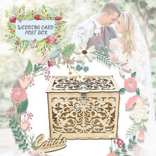 Large Wedding Card Post Box Collection Box Lock Wishes Advice Wooden Party