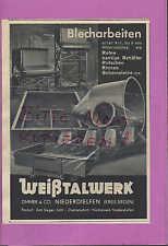 NIEDERDIELFEN, Werbung 1936, Weißtalwerk Zimmer & Co. Blecharbeiten